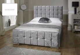 **CLEARANCE SALE** BRAND NEW CHESTERFIELD CRUSHED VELVET BED FRAME SILVER, BLACK AND CREAM COLORS