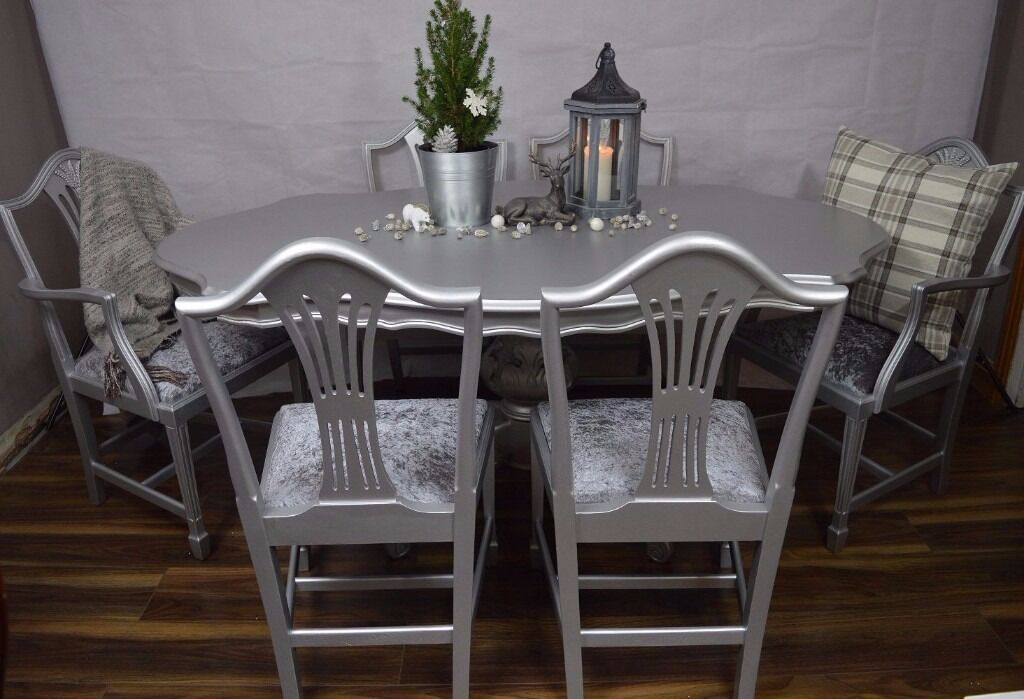 Shabby Chic Wood Italian Style Dining Table With 6 Chairs Velvet CHOOSE YOUR COLOUR AND FABRIC