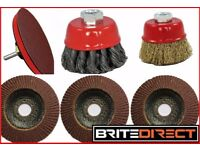 7PC SET 115 FLAP DISC TWIST KNOT BACKING PAD WHEEL CUP BRUSH ADAPTOR ANGLE GRINDER KIT DRILL