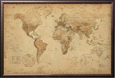 World Map Antique Style Poster Print in Premium Rust Wood Frame 24x36