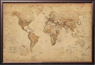 ANTIQUE WORLD MAP Premium Version, FRAMED (COPPER RUST FINISH)