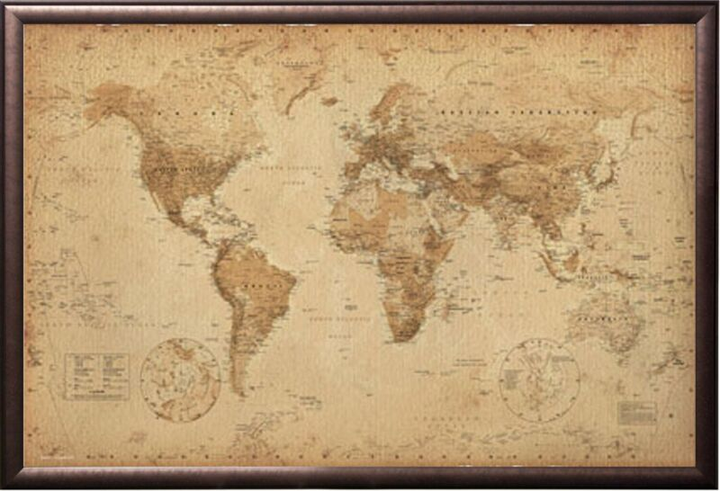 ANTIQUE WORLD MAP Premium Version, FRAMED (COPPER RUST FINISH)