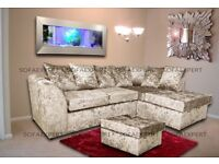 🌷💚🌷 BUY WITH CONFIDENCE 🌷💚🌷DYLAN CRUSHED VELVET LEFT AND RIGHT CORNER SOFA - FOOTSTOOL option