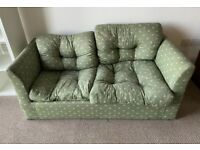 Som'Toile Green 2 Seater Sofa Bed. Pullout Bed In Good Condition Pull Out Bed
