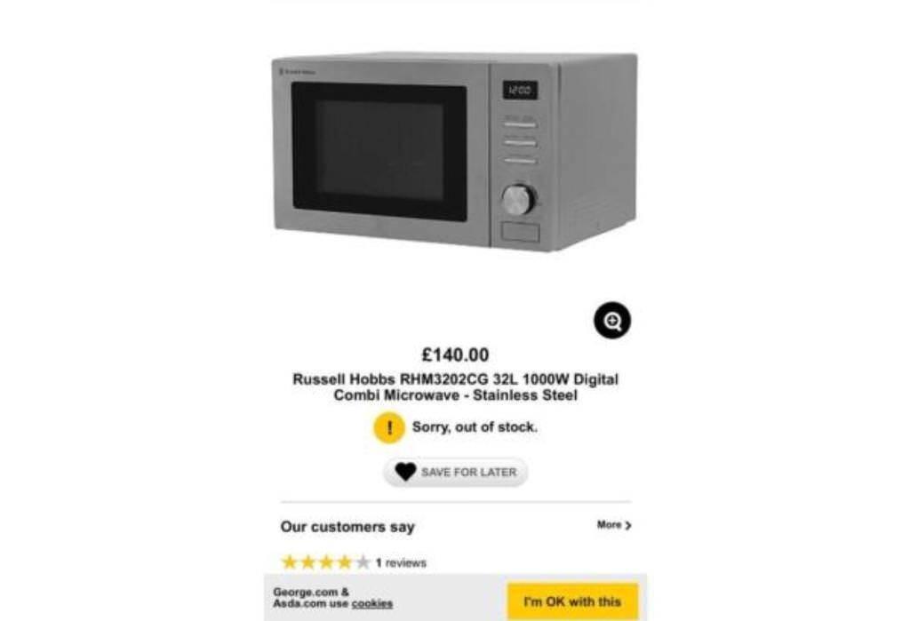 New in box Russell Hobbs RHM3202cg 32L Digital 1000W price £100