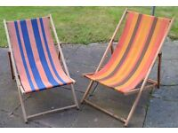 2 x Vintage Striped Fabric Wooden Deck Chairs Camping Campervan VW Retro Camping Camper