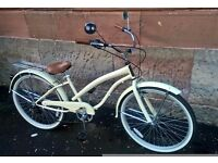 """26"""" LADIES Cream BEACH CRUISER 6-Speed Town Bike Dutch Chopper Bicycle 17"""" womens"""