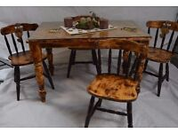 Unique Solid Wood Dining Table & 4 Chairs with Burned Wood Finish