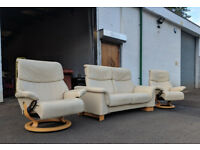 2+1+1 Ekornes Stressless paradise recliner sofa and 2 chairs DELIVERY AVAILABLE