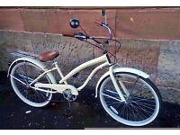 "26"" LADIES Cream BEACH CRUISER 6-Speed Town Bike Dutch Chopper Bicycle 17"" women cycle"