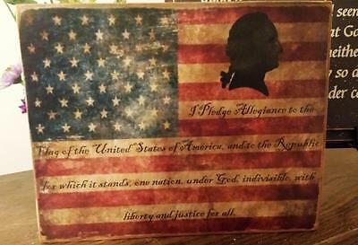 Primitive Sign Pledge of Allegiance Flag Americana Distressed Shabby - Washington Sign