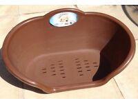PLASTIC OVAL BROWN DOG BASKET / BED & FEEDING BOWL FOR SALE