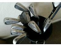 Golf set (Cobra, Mizuno, Callaway etc) in a bag with trolley