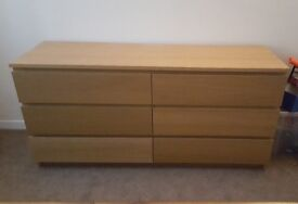 Ikea solid wood chest of draws - oak veneer - very good condition