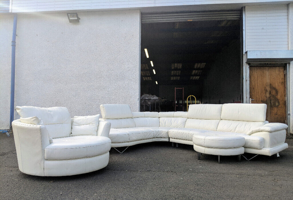 Super Very Large Dfs Cosmo White Leather Corner Sofa And Cuddle Chair Delivery Available In Cumbernauld Glasgow Gumtree Ibusinesslaw Wood Chair Design Ideas Ibusinesslaworg