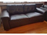 Dark Brown Leather Sofa / Settee / Couch