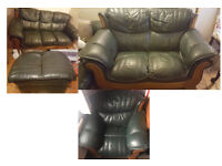 Leather Sofas Set - 3 seats, 2 seats, armchair, pouf