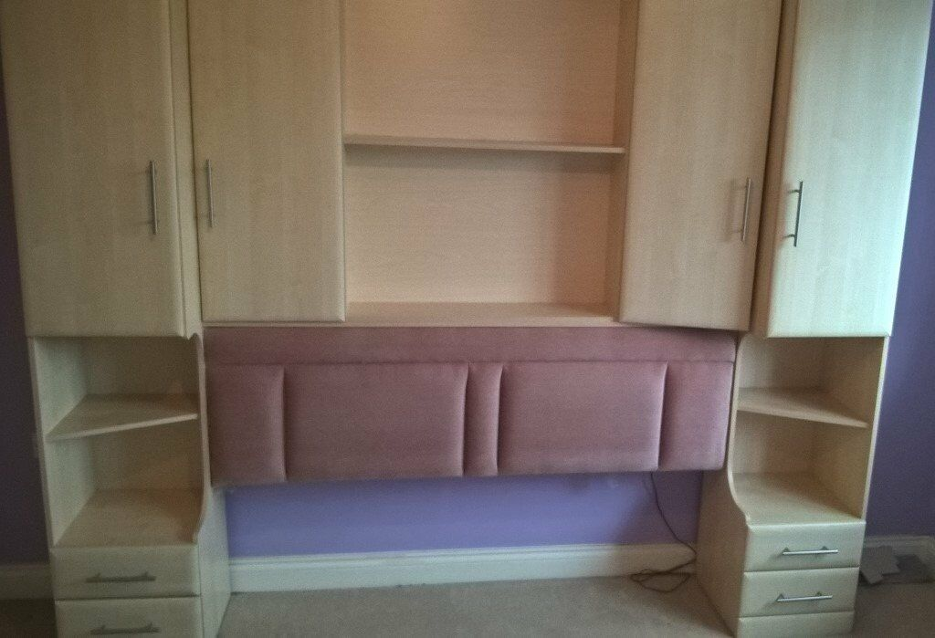 Over Bed Wardrobe Storage And Dressing Table With Stool In