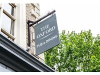 Team members - The Oxford, Kentish Town - £7.20ph with tronc on top - Brand new pub!