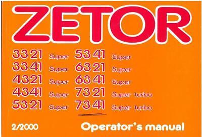 Używany, Zetor Tractor 3321 3341 4321 4341 5321 5341 6321 6341 7321 7341 Operators Manual na sprzedaż  Wysyłka do Poland