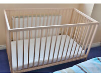 COT - IKEA SNIGLAR 60x120cm Hardly used as it was a second cot. MINT + hardly used mattress & sheets