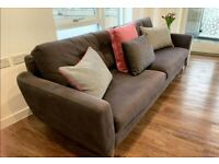 Large Grey Sofa Bed With Storage - Pillows and Throw Included