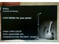 Acoustic Guitarist/Singer available for House Parties