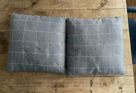 Classic Grey Square Large Check Sofa Cushions 50 x 50 cm