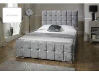 Brand new( CUBE) double crushed velvet bed + orthopeadic mattress