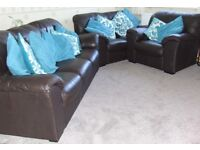 Brown leather three piece suite - quick sale needed £350 ono