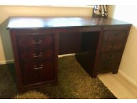 Cherry red wood DESK - Paid £90, Pay £35 OBO - 6 Drawers