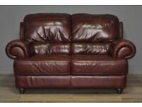 Attractive Large Comfy Oxblood Red Leather Two Seat Sofa Couch Settee