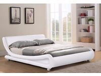 WHITE FAUX LEATHER ITALIAN STYLE DOUBLE BED -NEVER BEEN ASSEMBLED