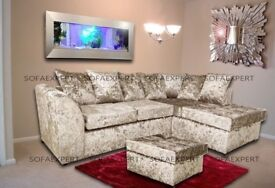 🔥🔥L/R HAND ORIENTATION🔥New Dylan Crush Velvet With Extra Padded Seating Cushions in Corner / 3 +2