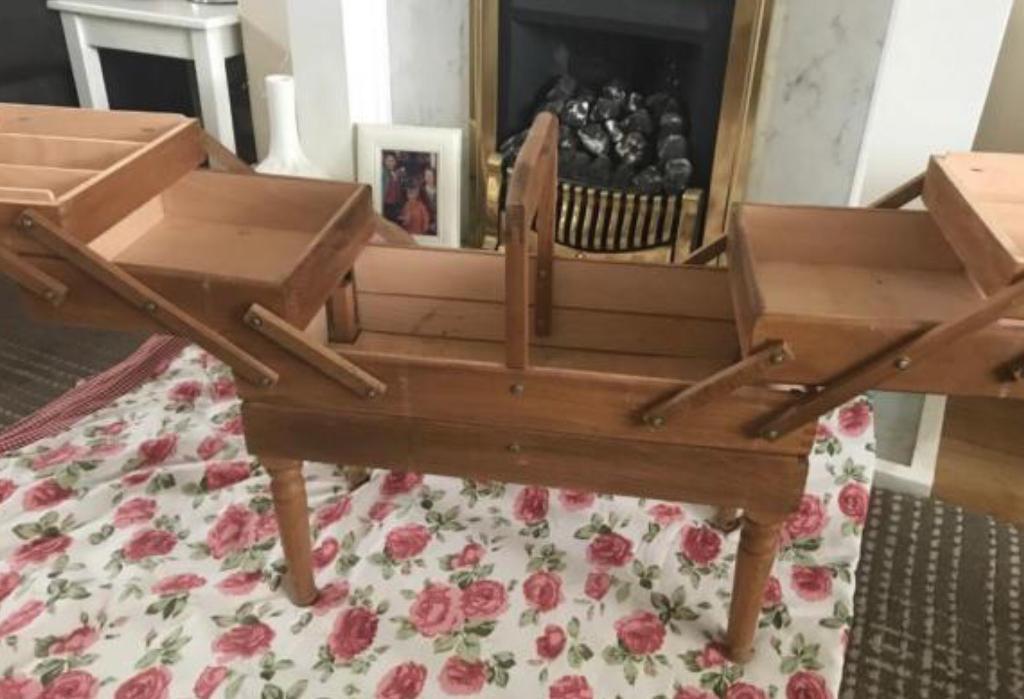 Vintage Floor Standing Sewing Box
