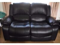 2 Seater Black Leather Recliner Sofa For Sale £80