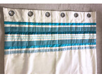 Pair of Cream & Teal/Turquoise Stripe Faux Silk Eyelet Lined Curtains - Fab Condition 90ins x 90ins