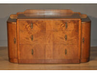 Attractive Large Vintage Art Deco Walnut Chest Of Drawers With Outer Cupboards