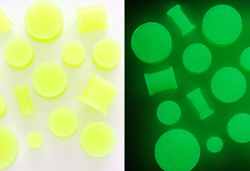 P#341 - 24pcs Glow-in-the-dark Silicone Plugs Wholesale Lot 8g,6g,4g,2g,0g,00g