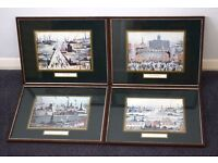 Set Of Four Vintage Framed Lowry Prints From The 1950's,vintage prints,lowry,industrial art,