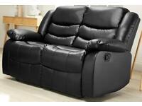 Beautiful barely used large double black leather sofa fully reclining