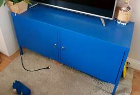 Blue metal locker TV cabinet from Ikea