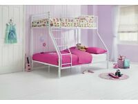 Lucas Metal Triple Bunk Bed Frame - White