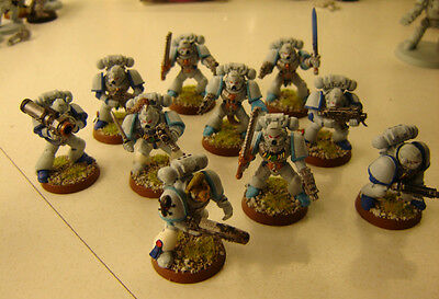 Warhammer 40k Space Marine Squad 10 painted & based table ready