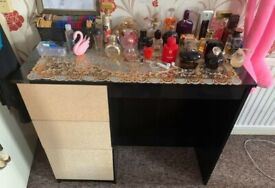 BLACK AND GOLD GLITTER DRESSER DRESSING TABLE WITH 3 DRAWERS