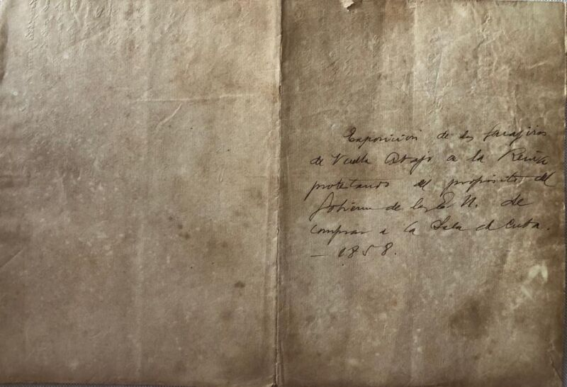 Manuscript of letter sent to the Queen by the Guajiros 1858 Cuba