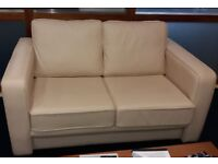 1x two seater cream leather sofa & 2x one seater cream leather chairs