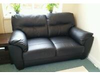 Real leather black sofas 2 seater & 3 seater