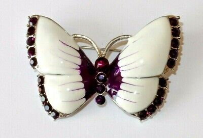 Absolute Beautiful Butterfly Silver Tone with Crystals PURPLE ENAMEL Brooch