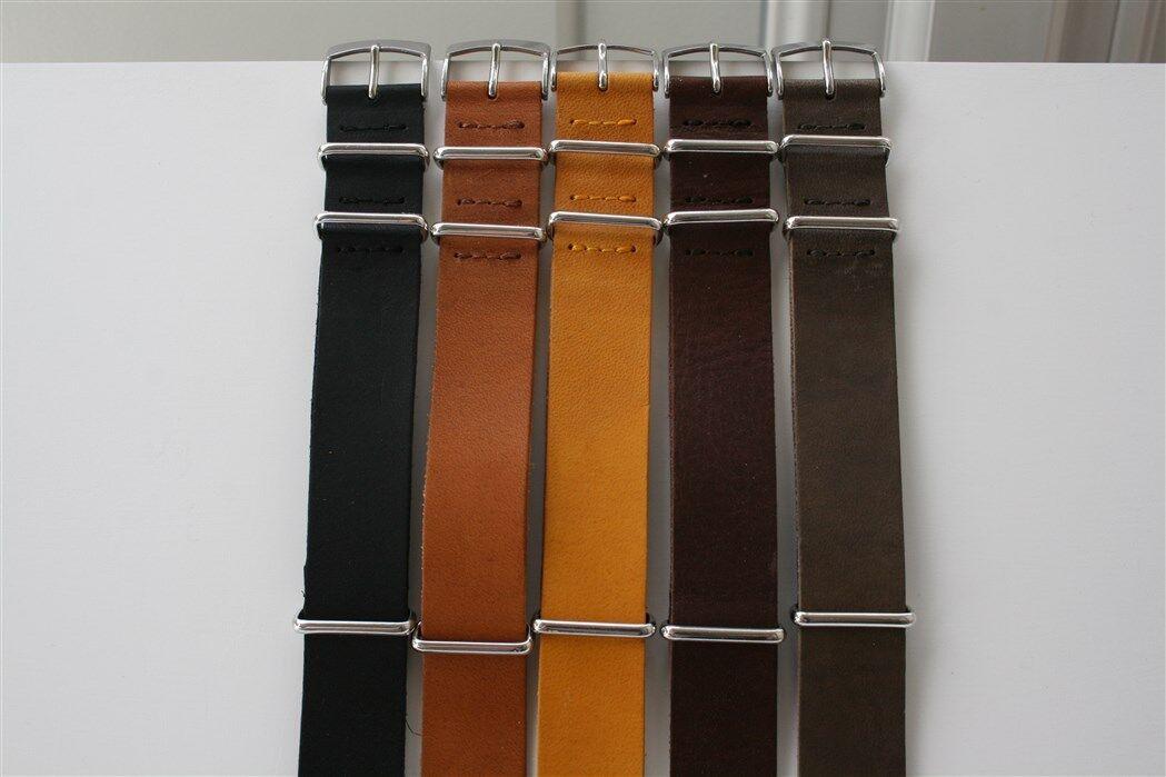 Cinturini Nato Artigianali in Vacchetta. Nato Straps  Leather. 20mm